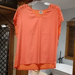 Anne Klein Peach Blouse Size L w/ Shoulder Detail